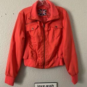 Miss London XL Orange Long Sleeve Bomber Jacket